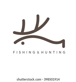 abstract vector design template of fishing and hunting