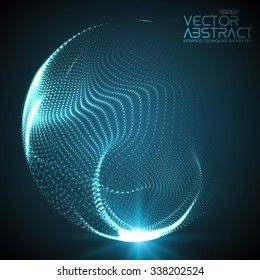 Abstract vector destroyed mesh spheres. Sphere breaking apart into points. Futuristic technology style. Flying point debrises. Elegant background for business presentations. eps10