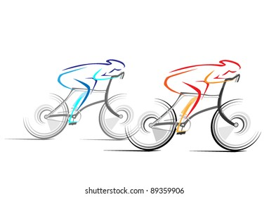 Abstract vector drawing bicycle races in line style.