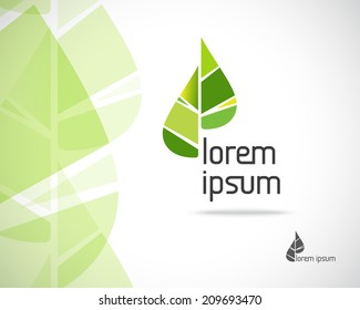 Abstract Vector Eco Emblem. Green Leaf Symbol. Element Design Template. Creative Ecology Concept Icon