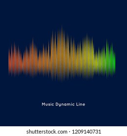 Abstract vector element for music design with equalizer. Dynamic line with dots on a dark background.