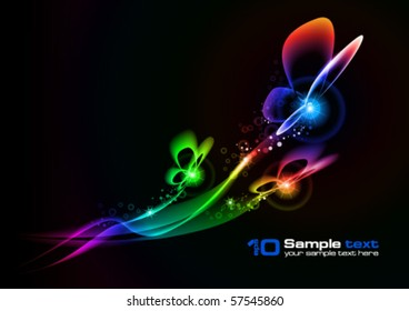 Abstract vector eps10 glowing background. Butterfly. For your design.