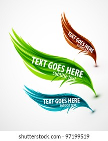 Abstract vector eps10 lines feather design set for your message