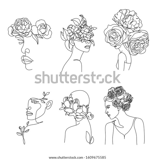 Abstract vector face with flowers line  drawing. Portrait minimalistic style. Botanical print. Nature symbol of cosmetics. Modern continuous line art. Fashion print. Beaty salon logo.
