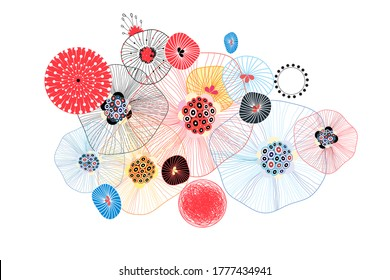 Abstract vector fantastic background with different unusual elements. Design for fabric or background of the website.