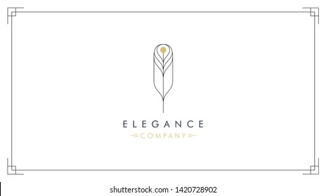 Abstract vector feather logo design with frame for premium branding. Elegant line symbol logotype in black and gold.
