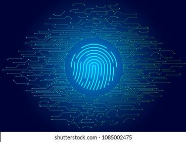 Abstract vector fingerprint icon / symbol?Circuit diagram tech abstract vector background illustration