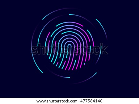 Abstract vector fingerprint icon / symbol