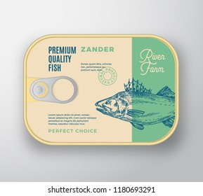 Abstract Vector Fish Aluminium Container with Label Cover. Retro Premium Canned Packaging Design. Modern Typography and Hand Drawn Zander or Pikeperch Silhouette Background Layout. Isolated.