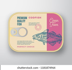 Abstract Vector Fish Aluminium Container with Label Cover. Retro Premium Canned Packaging Design. Modern Typography and Hand Drawn Codfish Silhouette Background Layout. Isolated.