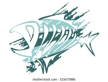 abstract vector fish logo for fisherman and restaurant, green
