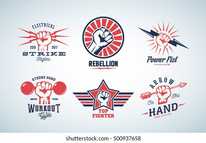 Abstract Vector Fists Logo Set. Different Concepts with Hand Emblem or Sign. Retro Style and Typography. Isolated.