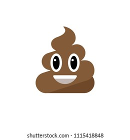 Abstract vector flat design emoticon poop icon symbol illustration