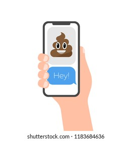 Abstract vector flat design emoticon poop icon symbol illustration. Hand with smartphone image. Message Service Bubbles on phone screen template.