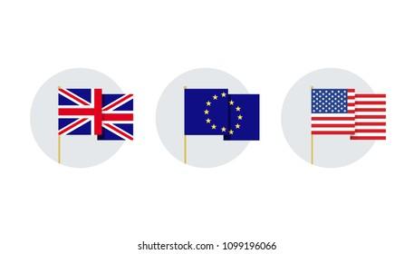 Abstract vector flat design flag illustration set. Union Jack United Kingdom, European Union, United States of America USA vector images.