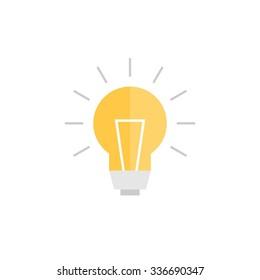 Abstract vector flat design lightbulb icon