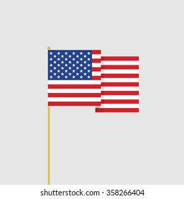 Abstract vector flat design USA flag icon