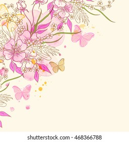 Abstract vector floral background with flowers, butterflies and pink watercolor blots
