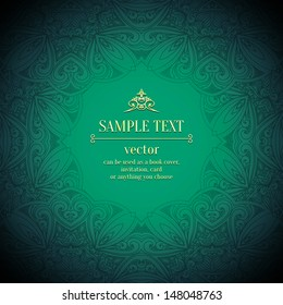 Abstract vector floral ornamental border. Lace pattern design.gold ornament on green background. Vector ornamental border frame. Can be used as a book cover, invitation, card or anything you choose.