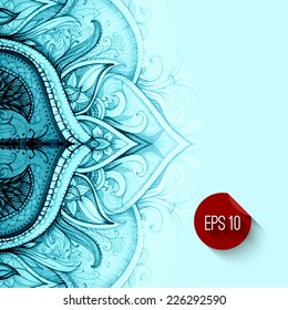 Abstract vector  floral ornamental border. Lace pattern design. Watercolor ornament on blue background. Vector ornamental border frame. Can be used for Xmas banner, cards, wedding invitations etc