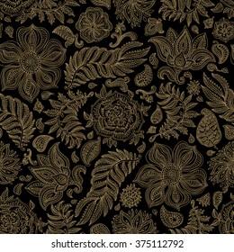 Abstract vector floral seamless pattern. Exotic Paisley elements, fantastic flower, leaves. Light beige gold wire contour line. Fairy foliage on black background. Textile bohemian  print. Batik paint