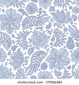 Abstract vector floral seamless pattern. Exotic silver grey Paisley elements, fantastic flower, leaves. Indigo blue thin contour line. White background. Textile bohemian print. Batik painting.Vintage