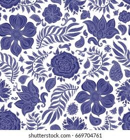 Abstract vector floral seamless pattern. Exotic Paisley elements, fantastic flower, leaves. Dark indigo blue silhouette. Fairy foliage on a white background. Textile bohemian print. Batik painting