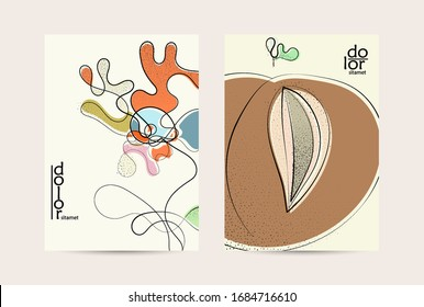 Abstract vector flyer template with hand drawn fruits with grunge texture. Flat colored food concept illustration. Healthy eating brochure layout. Line art fruit logo design. Curvy wavy lines.