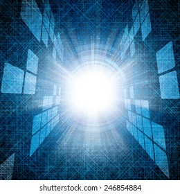 Abstract vector futuristic blue bright background illustration