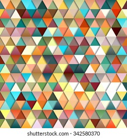 Abstract vector futuristic geometric triangular background in bright colors.