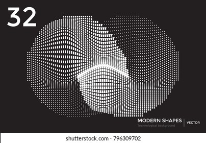 Abstract vector futuristic techno background. Editable linear shape template from dash lines and waves vj effect