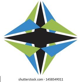 Abstract vector geometric 4 pointed shuriken ninja star symbol icon logo