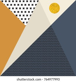 Abstract vector geometric background with triangles in pastel retro colors, black crosses and zig zags and a golden circle.