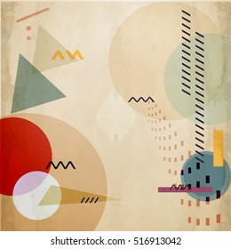 abstract vector geometric vector composition with ellipses and triangles. EPS 10