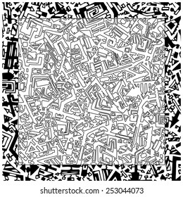 Abstract vector geometric hand drawn black and white pattern.
