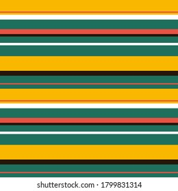 Abstract vector geometric seamless pattern. horizontal stripes. Colored background. Wrapping paper. Print for interior design and fabric. Stripe pattern with Yellow, Green, Brown and white colors.