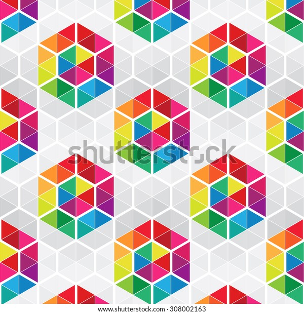 Abstract vector geometric seamless pattern of mosaic hexagons and triangles in rainbow colors