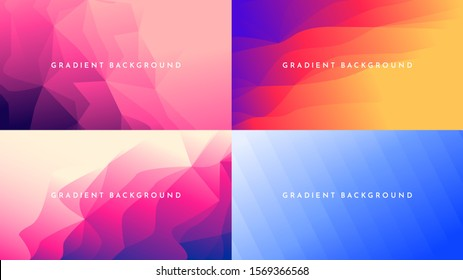 Abstract vector geometric triangle background. Minimalistic colorful gradient lines. Set of vibrant wallpapers. Futuristic UI design. Orange, pink, blue bright colors. Polygonal future template.