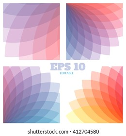 Abstract vector geometrical backgrounds set. Beautiful rainbow transparent colors. Editable EPS10 vector background