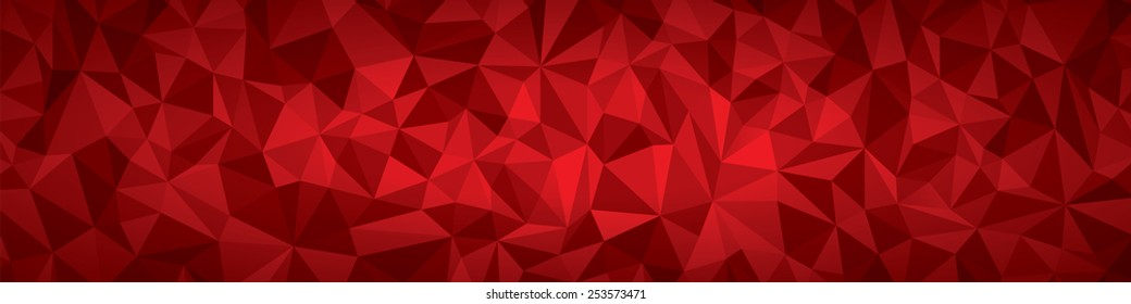 Abstract vector geometry background, red planes panorama, large format