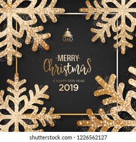 Abstract vector golden Christmas greeting card
