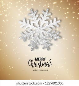 Abstract vector golden shiny background with silver snowflake