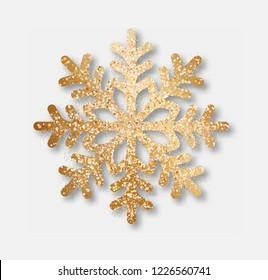 Abstract vector golden snowflake