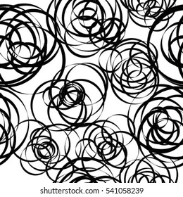 Abstract vector graphic with random, scattered circles, ovals. Abstract modern art like shape. Squiggly lines element.