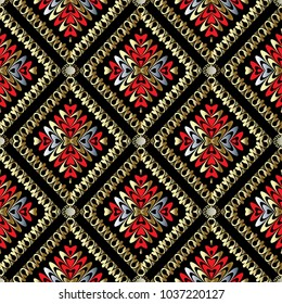 Abstract vector greek key seamless pattern. Geometric background wallpaper with floral frames, rhombus, flowers, love hearts, meanders, circles,  greek key ornaments. Luxury design for fabric, prints