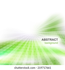 Abstract vector green background with shiny and halftone effect/vector illustration