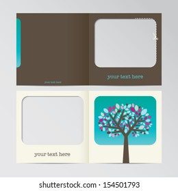 abstract vector greeting card template with a stylized tree illustration for print - front and back side
