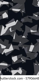 Abstract Vector grey Military Camouflage Background.  Seamless pattern of Geometric.