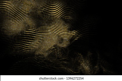 Abstract vector halftone gradient  flowing texture. Golden waving glitter. Vibrant trendy backdrop on black background.