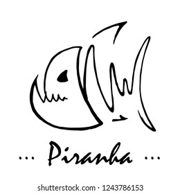 Abstract vector hand drawing of a dangerous water inhabitant. Stylish piranha illustration.